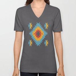 Santa Fe Southwestern Native Navajo Indian Tribal Geometric Pattern Unisex V-Neck