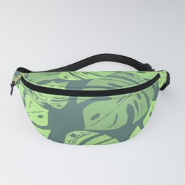 Linocut Monstera Tropical Green Fanny Pack