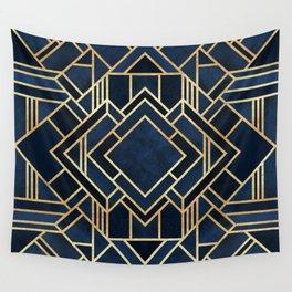 Art Deco Fancy Blue Wall Tapestry
