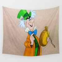 mad hatter Wall Tapestries featuring Mad Hatter by Sierra Christy Art