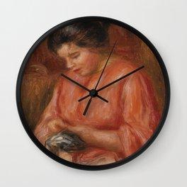 Girl Darning Wall Clock