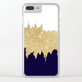 Modern navy blue white faux gold glitter brushstrokes Clear iPhone Case