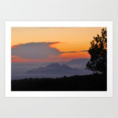Mountains. Sunset from the forest. Art Print