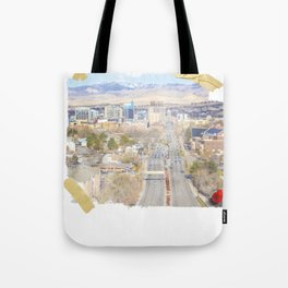 Boise, Idaho, City Skyline Train Depot Design Tote Bag