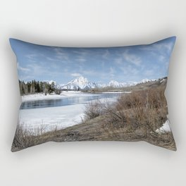 Grand Tetons from Oxbow Bend at a Distance Rectangular Pillow