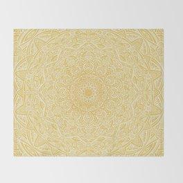 Most Detailed Mandala! Yellow Golden Color Intricate Detail Ethnic Mandalas Zentangle Maze Pattern Throw Blanket