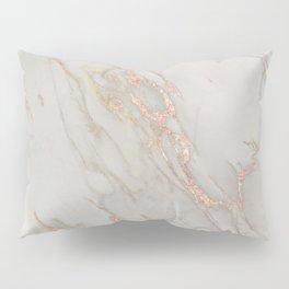 Marble - Rose Gold Marble Metallic Blush Pink Pillow Sham