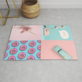 Pastel Pink and Blue/Vintage Rotary Dial Telephone/Retro Car/Sparkly Unicorn/Colorful Donuts Rug