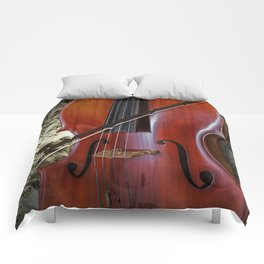 Cello with Bow a Stringed Instrument with Classical Sheet Music Comforters
