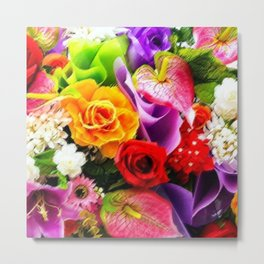 Bouquet of Roses, Carnations, Lilies, Tulip Still Life Painting by Jeanpaul Ferro Metal Print