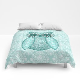 Turquoise Owl Collage Comforters