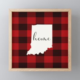 Indiana is Home - Buffalo Check Plaid Framed Mini Art Print