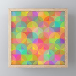 Vibrant Plaid and Circle Pattern Framed Mini Art Print