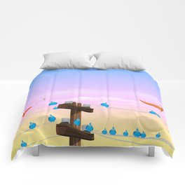Birds on a wire Comforters