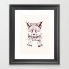 Fox and scarf Framed Art Print