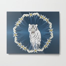 White Tiger with Orchid Grass Wreath Metal Print