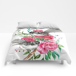 Floral Piwakawakas Comforters