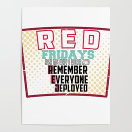 Marines Army Soldier Navy Memorial Day RED Fridays I Wear Red Veteran Gift Poster