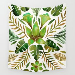 Tropical Symmetry – Olive Green Wall Tapestry