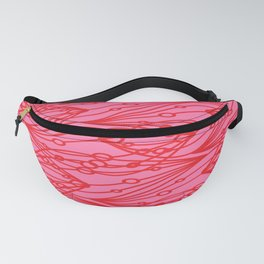 Pink molecular helix with diagonal circles on strawberry background. Fanny Pack