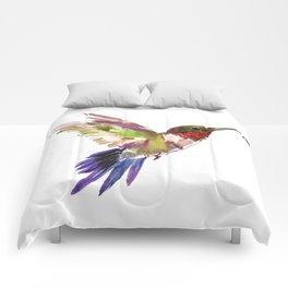 Hummingbird artwork, flying hummingbird Comforters