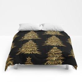 Gold Christmas Tree On Black Christmas Pattern Comforters