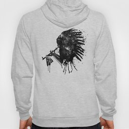 Indian with Headdress Black and White Silhouette Hoody