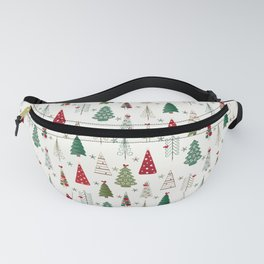 Scandinavian Christmas Trees Pattern - Red Green Fanny Pack
