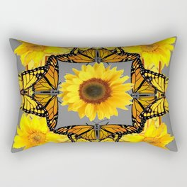 WESTERN STYLE YELLOW SUNFLOWERS & ORANGE MONARCH BUTTERFLIES Rectangular Pillow