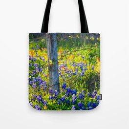 Country Living - Fence Post and Vines Among Bluebonnets and Indian Paintbrush Wildflowers Tote Bag