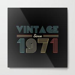 Vintage since 1971 49th Birthday Men Metal Print