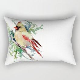 Cardinal Bird Artwork, female cardinal bird Rectangular Pillow