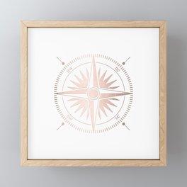 Rose Gold on White Compass Framed Mini Art Print