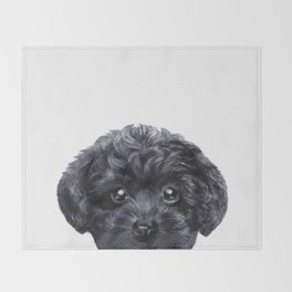Black toy poodle Dog illustration original painting print Throw Blanket