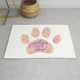 Adopt don't shop galaxy paw - pastel pink and ultraviolet Rug