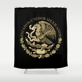 Mexican flag seal in sepia tones on black bg Shower Curtain