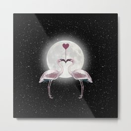 Flamingos Love Night Metal Print