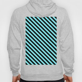 Electric Blue and Black Diagonal LTR Stripes Hoody