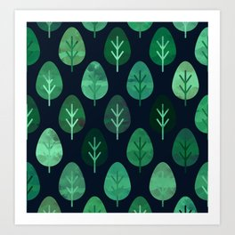 Watercolor Forest Pattern #9 Art Print