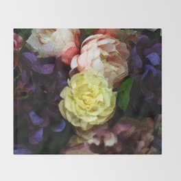 Shabby Chic Flowers Pattern Throw Blanket