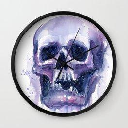 Skull in Watercolor Galaxy Space Wall Clock