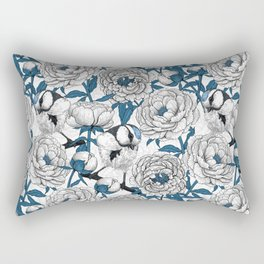 White peonies and blue tit birds Rectangular Pillow
