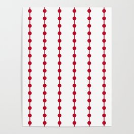 Geometric Droplets Pattern Linked - Pastel Red on White Poster