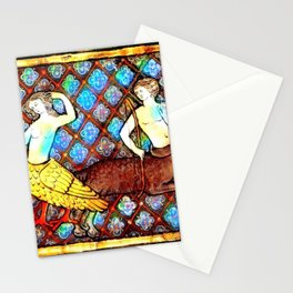 Presence Medieval An Onocentaur with a Bow Looks at a Siren.  Stationery Cards