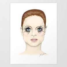 Blue Eyed Girl - Coloured Art Print