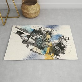 Clavius | astronaut floating in the space Rug