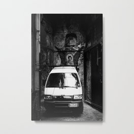 An angel in Naples street art bw photography Metal Print