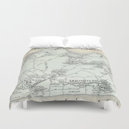 Vintage Map of East Hampton New York (1873) Duvet Cover