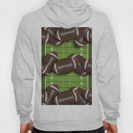 Football Field with Rows of Footballs Hoody