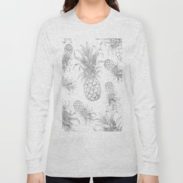 grayscale pineapple pattern, vintage tropical desing Long Sleeve T-shirt
